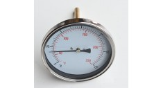 "100mm Dial Temperature gauge, 1/2""bsp bottom entry, 4"" pocket, 0-120 deg c"