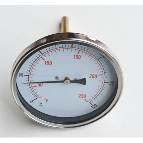 "100mm Dial Temperature gauge, 1/2"" bsp back entry, 2"" pocket 0-120 deg c"