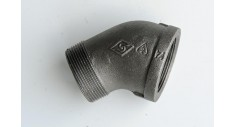 Black malleable 45 deg elbow m/f