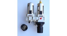 Filter regulator, lubricator, mounting bracket & gauge 0-10 bar