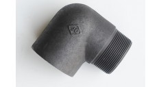 Black mild steel 90 deg elbow m/f
