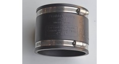 "4"" x 4"" Flexible soil coupling (rubberized PVC) for cast iron / plastic"