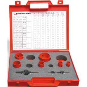 Rothenberger 9 pce plumbers hole saw kit (19-22-29-38-44-57mm)